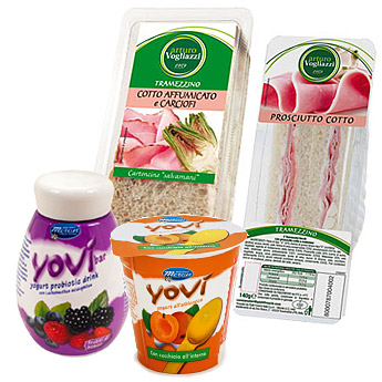 Orasesta distribuzione automatica atmosfera modificata tramezzini e yogurt freschi